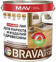 Алкидный износостойкий лак MAV BRAVA ALKYD 2122 для паркета и изделий из дерева Бесцветный глянцевый 10 литров