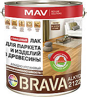 Алкидный износостойкий лак MAV BRAVA ALKYD 2122 для паркета и изделий из дерева Кедровый орех 1 литр