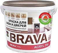 Фарба MAV BRAVA ACRYL 35у для вікон і дверей Біла М1 напівматова 3 літра
