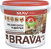Акриловый лак MAV BRAVA ACRYL 43 без запаха на водной основе для окон и дверей Слива 1 л