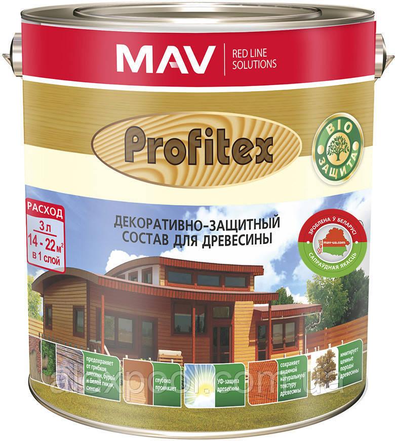 Состав MAV PROFITEX декоративно-защитный для древесины Светлый орех 3 литра