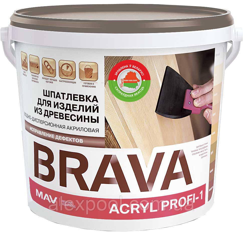 Шпатлевка MAV BRAVA ACRYL PROFI-1 водно-дисперсионная акриловая по дереву Ель 0,28 литра
