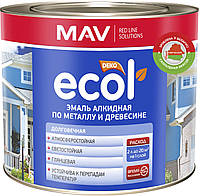 Эмаль MAV ECOL АЛКИДНАЯ по металлу и древесине Снежно-белая 2,4 литра