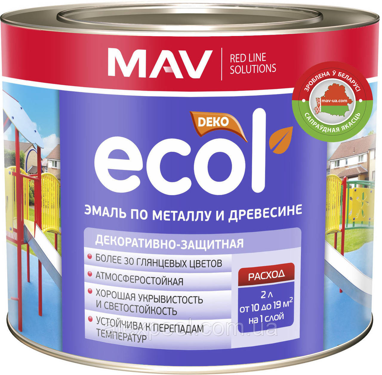 Эмаль MAV ECOL по металлу и древесине Зеленая 20 литров