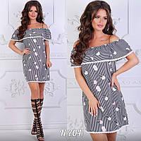 Платье летнее, короткое, рюши на плечах. Размеры:42,44,46,48.Три цвета код 5708Ц, фото 1