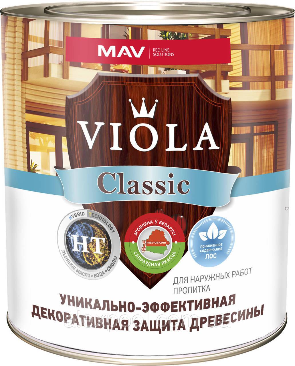 Лак алкидный MAV VIOLA Classic HT 30 защитно-декоративный без запаха для древесины Слива 10 литров