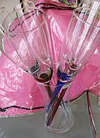 Бокалы-цветы  под шампанское на цветных ножках  без подставки, фото 1