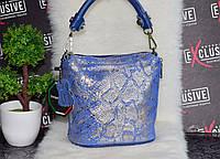 Красивая кожаная женская сумка с лазерным принтом змеи. Синяя., фото 1