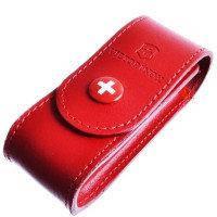 Чехол для ножа Victorinox (84-91 мм, 2-4 слоя) на кнопке, кожаный, красный 4.0520.1