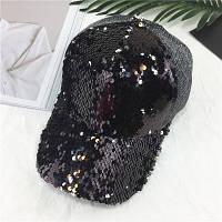 Женская кепка с двухсторонними пайетками черная, фото 1