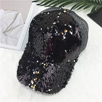 Женская кепка с двухсторонними пайетками черная