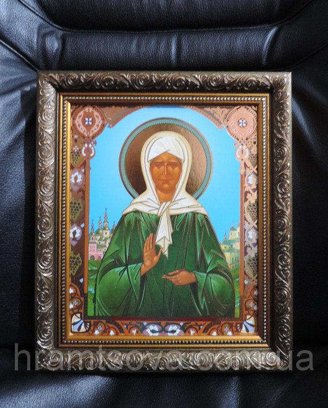 """Икона """"Святая Блаженная Матрона"""". Чудотворная икона в золоченной рамке """"Матрона Московская"""". Размер 28 х 24 см"""