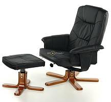 Кресло TV для отдыха с массажем (черное) + пуф