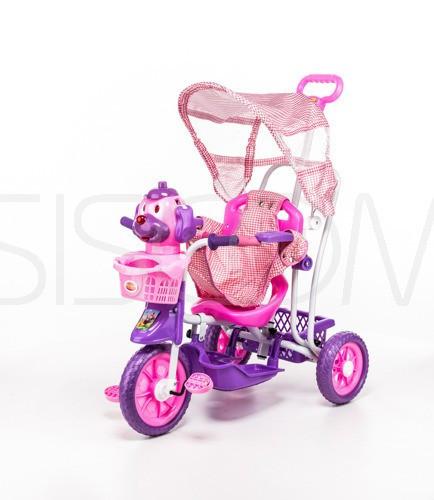 Трёхколёсный велосипед розовый собака