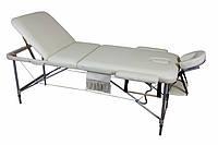 Массажный стол 3 секционный, алюминиевый,  бежевый