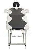 Массажный стол 2 секционный, алюминиевый, черно-белый