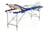 Массажный стол 3 секционный сине-белый