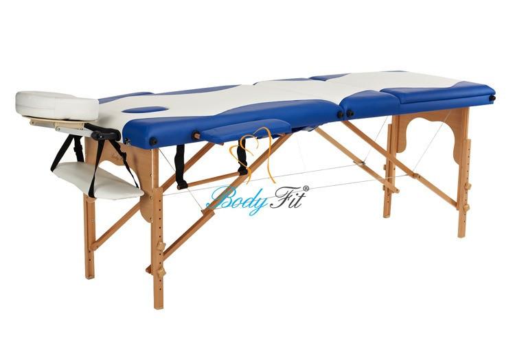 Массажный стол 3 секционный, деревянный, бело-небесный