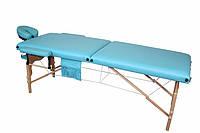 Массажный стол 2 секционный, деревянный, фисташковый