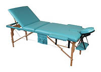 Массажный стол 3 секционный, деревянный, фисташковый
