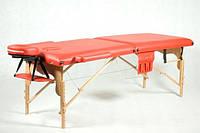 Массажный стол 2 секционный, деревянный, красный