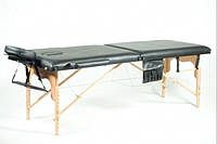Массажный стол 2 секционный, деревянный, черный