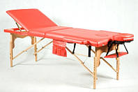 Массажный стол 3 секционный, деревянный, красный