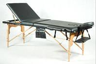Массажный стол 3 секционный, деревянный, черный