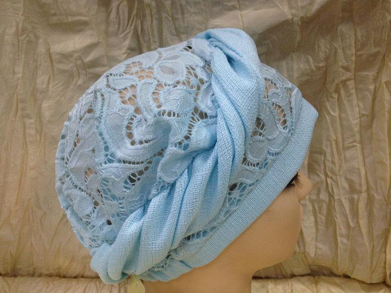 Летняя бирюзовая косынка-шапка-чалма гипюровая на резинке