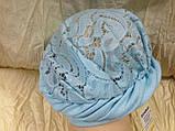 Летняя бирюзовая косынка-шапка-чалма гипюровая на резинке, фото 2
