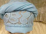 Летняя бирюзовая косынка-шапка-чалма гипюровая на резинке, фото 3