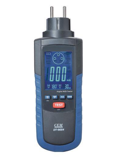 Тестер перевірки і вимірювання параметрів пристроїв захисного відключення (ПЗВ) CEM DT-9054.