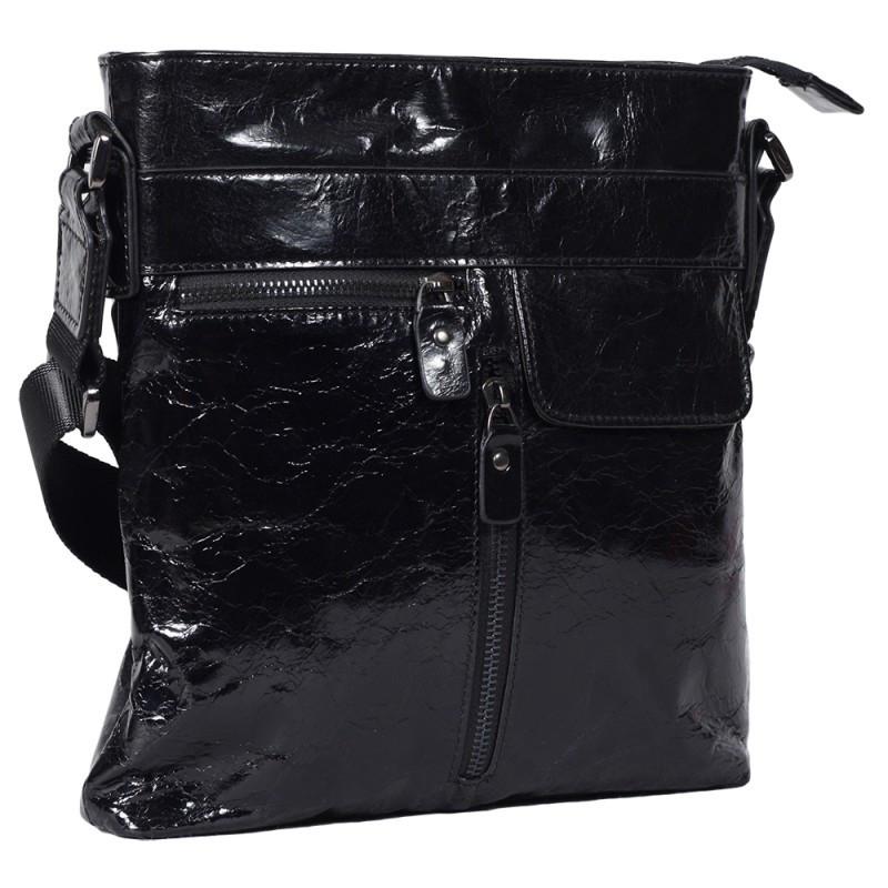 872b2249fcf4 Мужская кожаная сумка лакированная Tofionno 330187 черная, цена 1 584 грн.,  купить в Киеве — Prom.ua (ID#604592881)