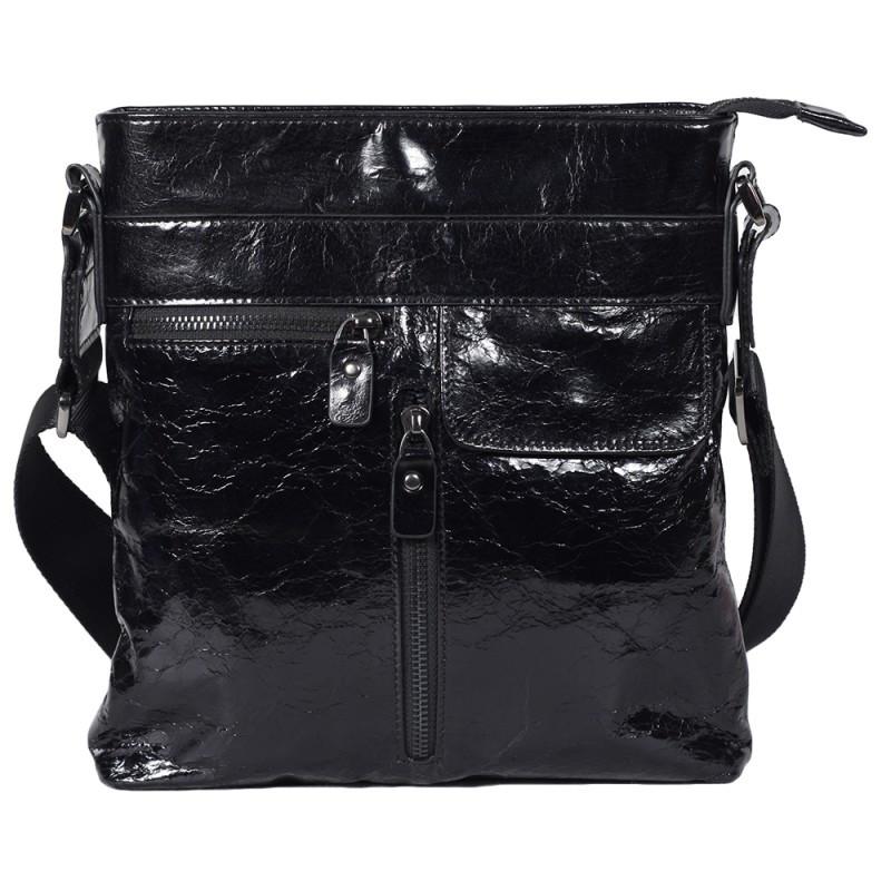 c8b399f46ed4 Мужская кожаная сумка лакированная Tofionno 330187 черная - АксМаркет в  Киеве