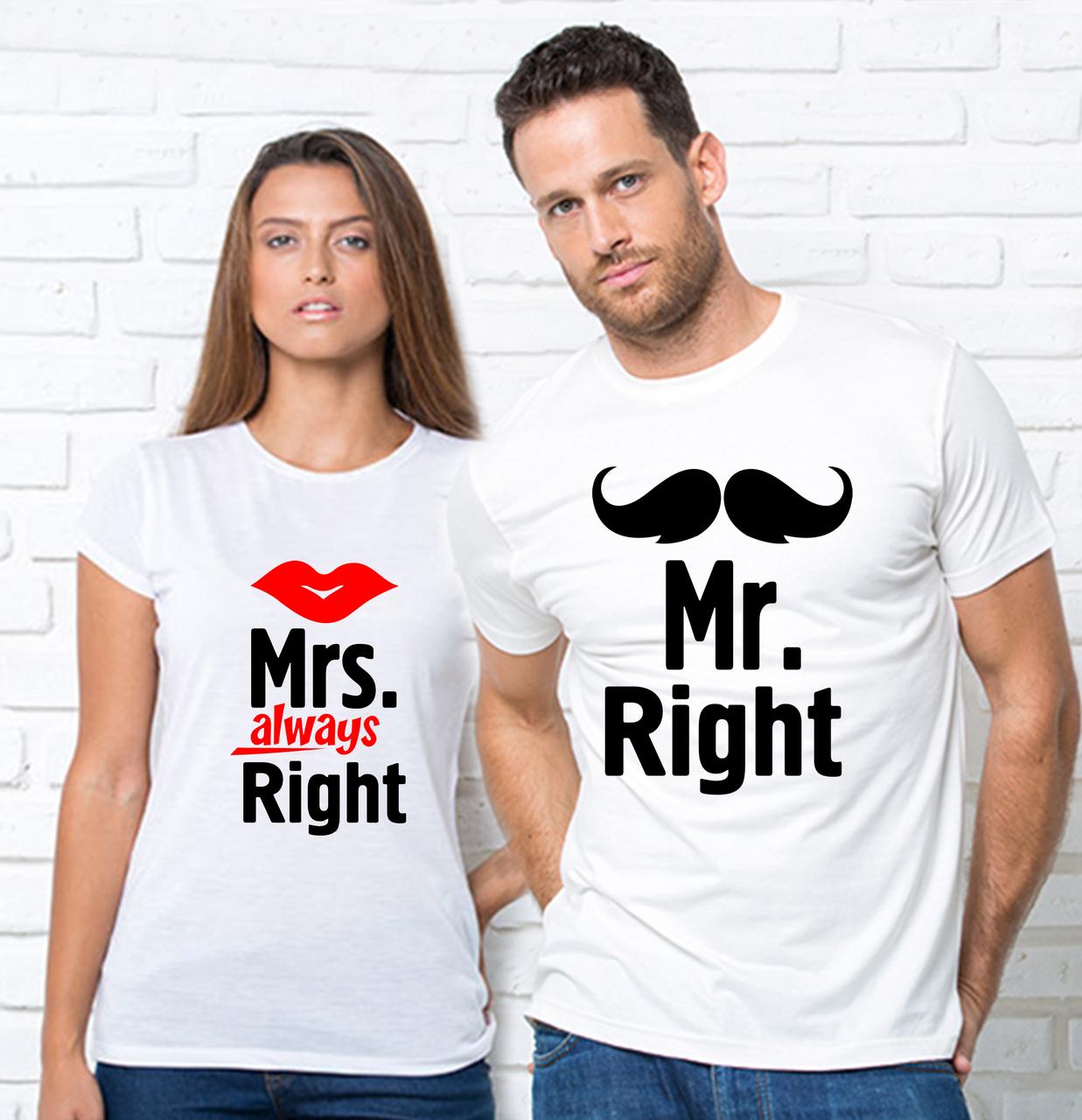 Парные футболки,Mr Mrs Right