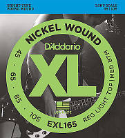 Струны для бас-гитары D'Addario EXL165 Nickel Wound Bass Guitar Strings 45-105