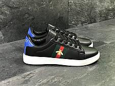 Мужские кроссовки GUCCI (реплика)черно-белые, фото 2