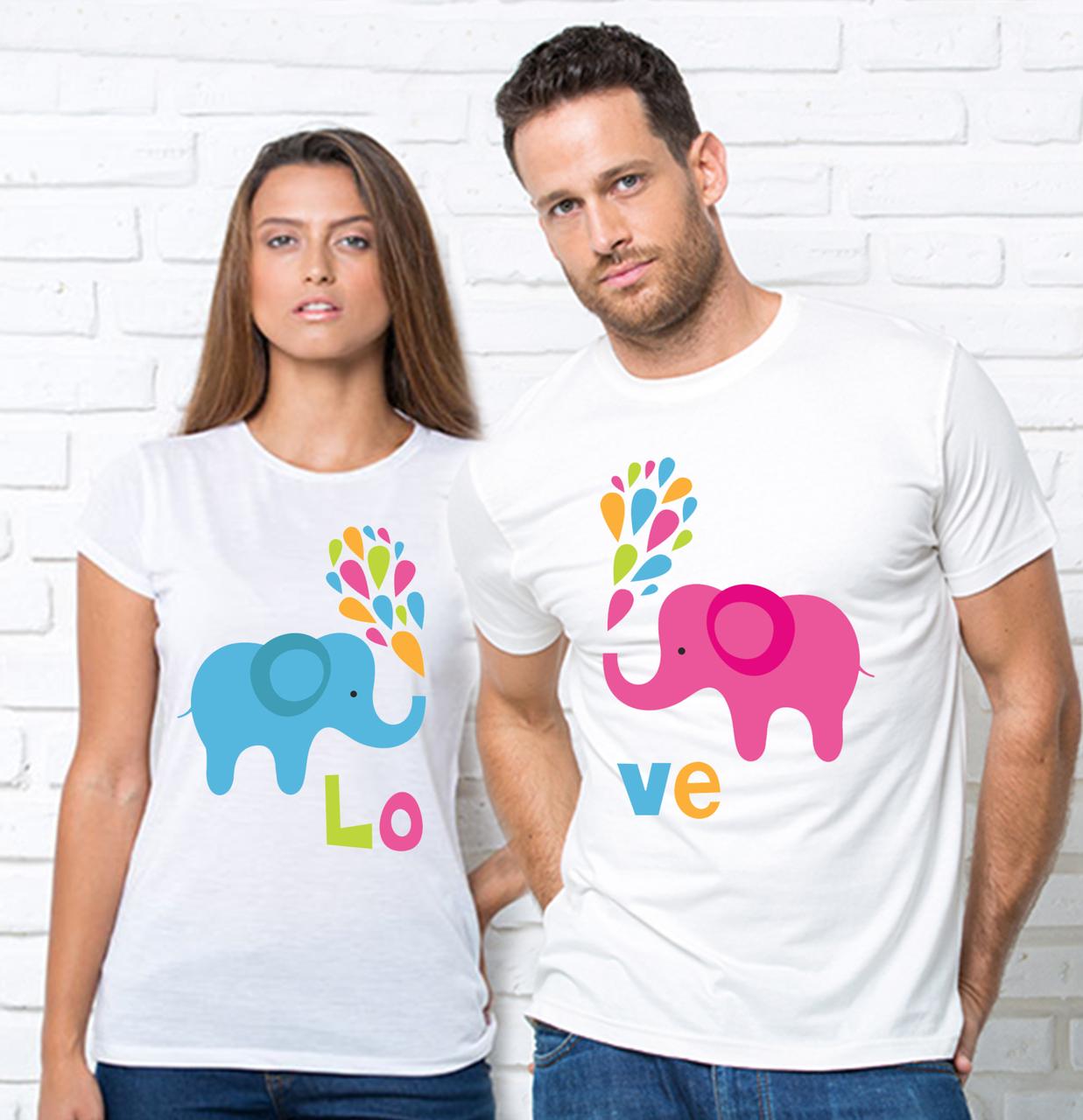 """Футболки парні білі """"Слоники LOVE""""Парні футболки з принтом Слоніки"""