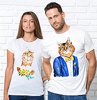 Парные футболки, котики. Парні футболки з принтом Котики