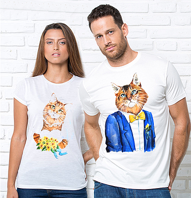 Парні футболки, котики. Парні футболки з принтом Котики