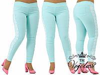Женские лосины-джинсовые,Ткань- стрейч-джинс + кружево макроме + жемчуг зажат крабиком, Цвет- мята