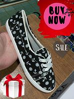 Женские слипоны - кеды низкие с якорями fashionable slip-ons - low sneakers with anchors