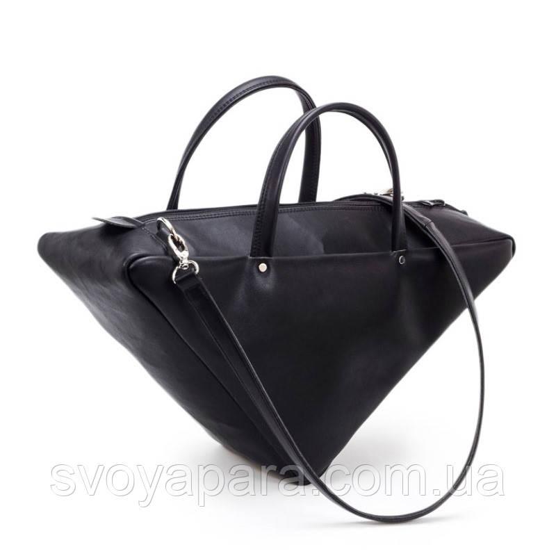 e829e0970f3f Женская сумка треугольник из высококачественной экокожи чёрного цвета с  одним основным отделением - Своя Пара в