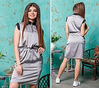 Платье женское короткое из шелка с кулиской на поясе P9977