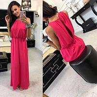 Платье женское длинное вечернее из шелка без рукавов P9979, фото 1