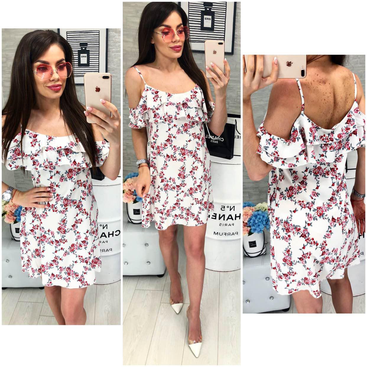 Платье летнее с карманами, модель 102, принт - красный мелкий цветок