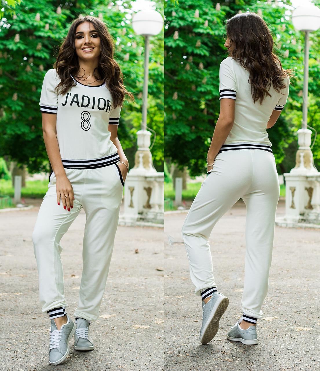 aa397755abe Белый летний спортивный костюм женский  штаны и футболка - AMONA  интернет-магазин модной одежды