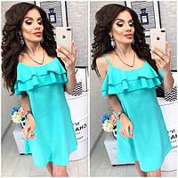 Платье короткое ,летнее  с воланом, модель 102,  Бирюзовый, фото 1