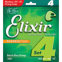 Струны для бас-гитары Elixir 14087 Nanoweb Medium electric bass Strings 45-105