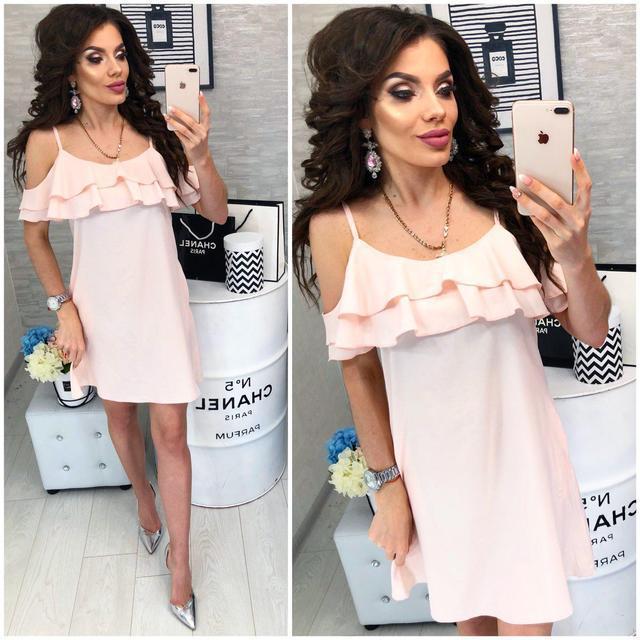 Платье короткое ,летнее  с воланом, модель 102,  Светло-персиковый